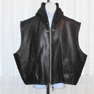 Rugby North America Hooded Leather & Fabric Vest